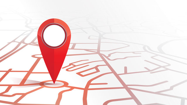 Single gps pin icon red color mock up form the street map on white background.vector illustration