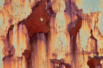 Rusting painted metal panel forming abstract patterns Wall mural