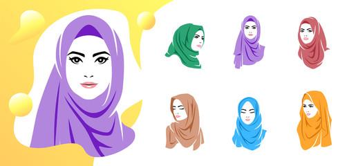 Set of beautiful woman wearing colorful hijab icon, hijab logo isolated