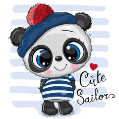 Baby cartoon Panda in sailor costume