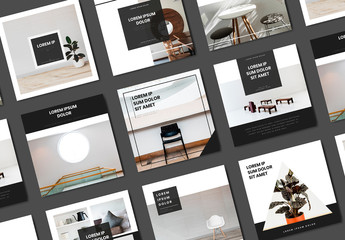 Black and White Social Media Post Layouts with Furniture Images