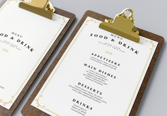 Menu Layout with Tan and Yellow Ornamental Accents