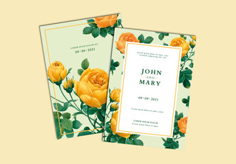Wedding Invitation Layout with Yellow and Green Floral Elements
