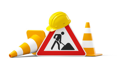 Under construction, road sign, traffic cones and yellow safety helmet, isolated on white background. 3D rendering