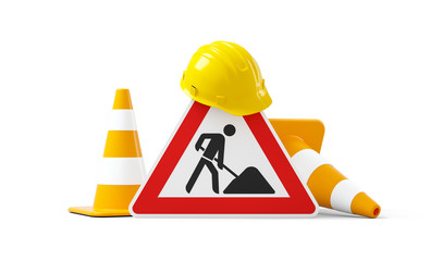 Under construction, road sign, traffic cones and safety helmet, isolated on white background. 3D rendering