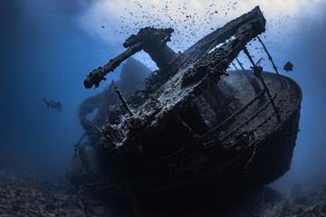 Aluminium Prints Shipwreck Wrack der SS Thistlegorm im Roten Meer in Ägypten