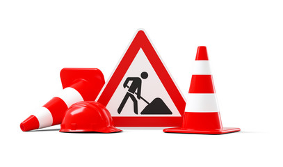 Under construction, road sign, traffic cones and red safety helmet, isolated on white background. 3D rendering