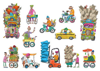 Set of variety indian vehicles and characters. Cartoon. Caricature.