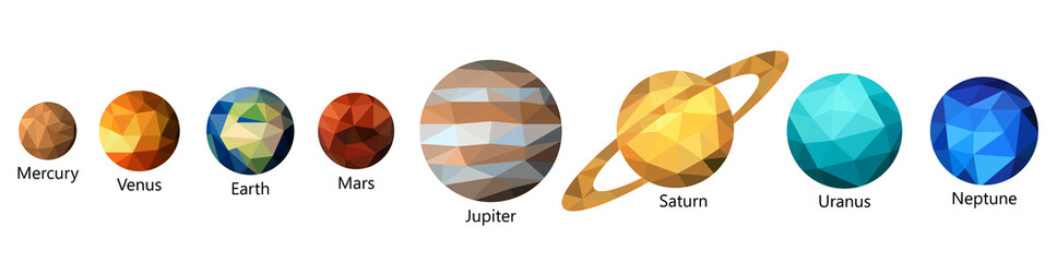 Set of triangle polygonal silhouette of solar system planets. Polygon design. Low poly art. Wall mural