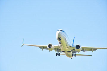 Commercial Aircraft Landing. Boeing 737 on Landing.