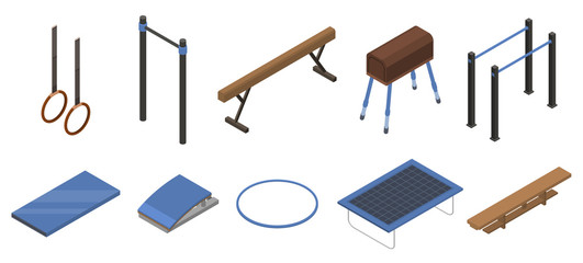 Gymnastics equipment icons set. Isometric set of gymnastics equipment vector icons for web design isolated on white background
