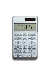 "calculator with the word ""taxes"" on white background"