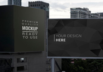 2 Billboards on City Buildings Mockup