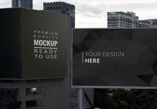 2 Billboards on City Buildings Mockup
