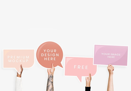 4 Hands Holding Speech Bubble Placards Mockup