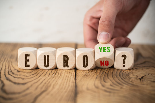"""hand flips cube with the answer for question """"Euro - yes / no"""""""