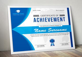 Blue Certificate of Achievement Layout