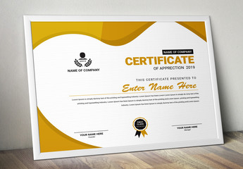 Certificate Layout With Golden Accents
