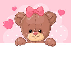 Cute Teddy bear girl on a pink background with hearts with a banner. Children's character.