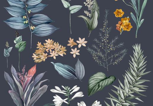 Vintage-Style Floral Art Kit