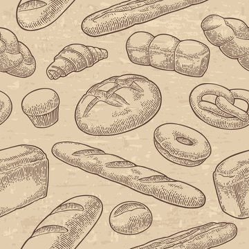 Seamless Pattern for bakery. Vector black hand drawn vintage engraving