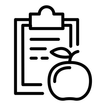 Clipboard diet icon. Outline clipboard diet vector icon for web design isolated on white background