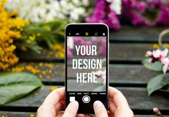 Smartphone Mockup with Springtime Background