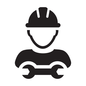 Contractor icon vector male worker person profile avatar with hardhat helmet and wrench or spanner tool in glyph pictogram illustration