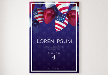 Poster with American Flag Balloons Illustration