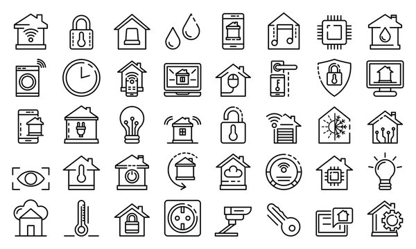Smart home icons set. Outline set of smart home vector icons for web design isolated on white background