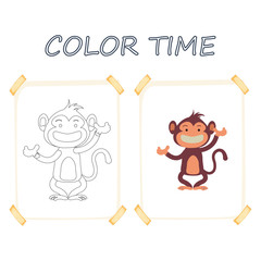 Coloring page outline of cartoon cute monkey. Vector illustration, summer coloring book for kids.
