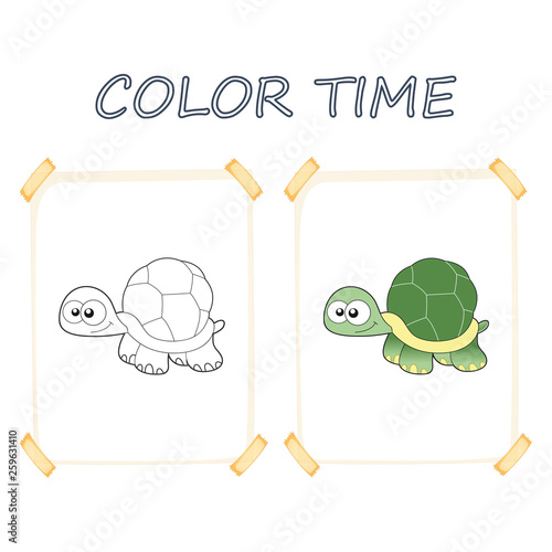 Coloring page outline of cartoon cute turtle. Vector ...