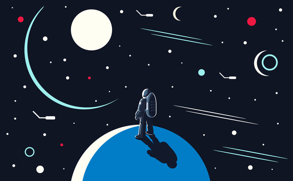 Vector conceptual illustration of an astronaut standing on the planet and looking into outer space at the sun and other planets