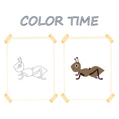 Coloring page outline of cartoon cute ant. Vector illustration, summer coloring book for kids.
