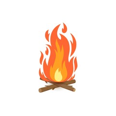 Vector cartoon illustration of burning bonfire with wood. Fire wood and campfire icon isolated on white background for web, print, decoration, bonfire night.