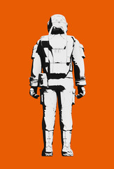 Astronaut space suit for extravehicular activity on Mars or other planet, comfortable design. Black and white on orange background. Rear view, line art rendering digital illustration