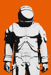 Black and white astronaut extravehicular activity space suit, easy clean, on orange background. Front view close up, line art rendering digital illustration stylized to ink