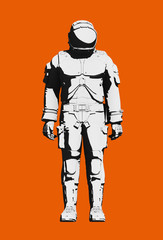 Astronaut space suit for extravehicular activity, functional design. Black and white on orange background. Front view, line art rendering digital illustration