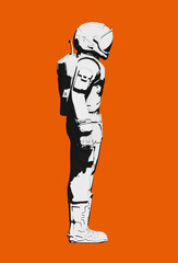 Black and white astronaut space suit,  on orange background. Side view, line art rendering digital illustration