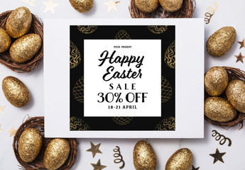 Easter Sale Banner with Gold Patterned Eggs