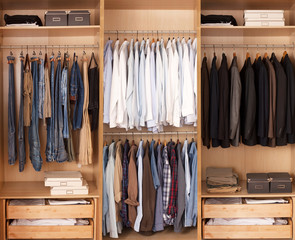beautiful housewife Big wardrobe with male clothes for dressing room