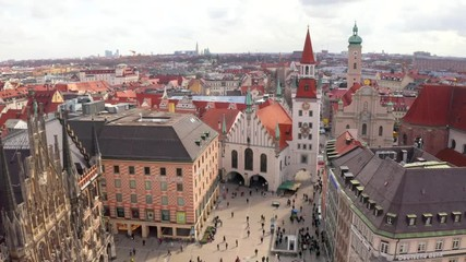 Wall Mural - Aerial view on Marienplatz town hall and Frauenkirche in Munich, Germany