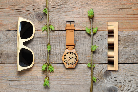Eco-friendly plastic-free products on wooden background