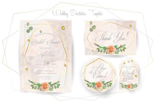 Floral Wedding Invitation elegant invite, thank you, rsvp, Save the Date, Bridal Shower card trendy Design garden flower pink peach Rose green Eucalyptus leaf greenery bouquet gold geometric frame