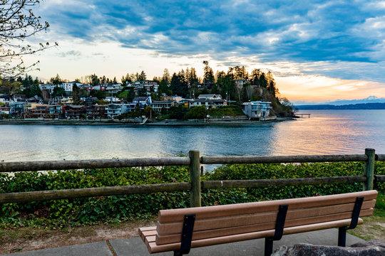 Bench facing Magnolia across Puget Sound at Sunset, Seattle Washington