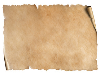 Old worn paper sheet isolated on white