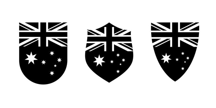 Vintage shield with Australian flag set, black isolated on white background, vector illustration.