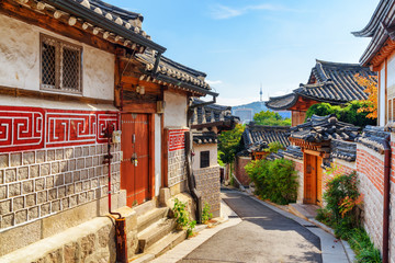Amazing view of old narrow street and traditional Korean houses