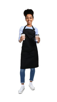 African-American barista on white background