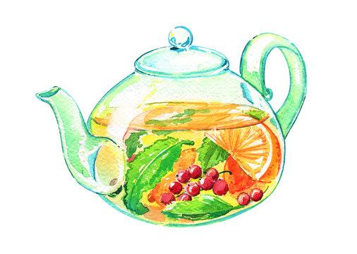 Teapot glass fruit tea hot watercolor isolated